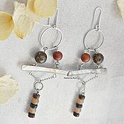 Украшения handmade. Livemaster - original item Long Boho earrings with Jasper and mother of pearl
