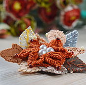 Украшения handmade. Livemaster - original item Knitted brooch-a flower in the style of