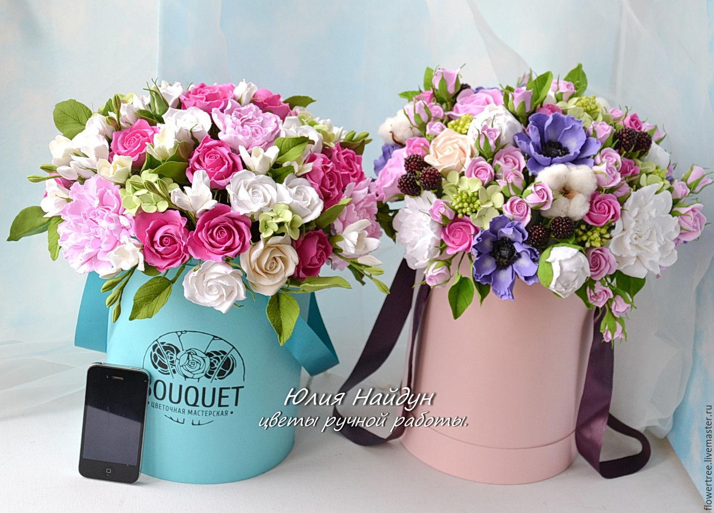 Цветы в шляпных коробках купить