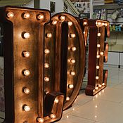 Для дома и интерьера ручной работы. Ярмарка Мастеров - ручная работа Ретро буквы с лампочками. Handmade.