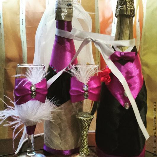 Набор из бокалов и шампанского, оформленных в стиле арт-деко (Гэтсби стайл)