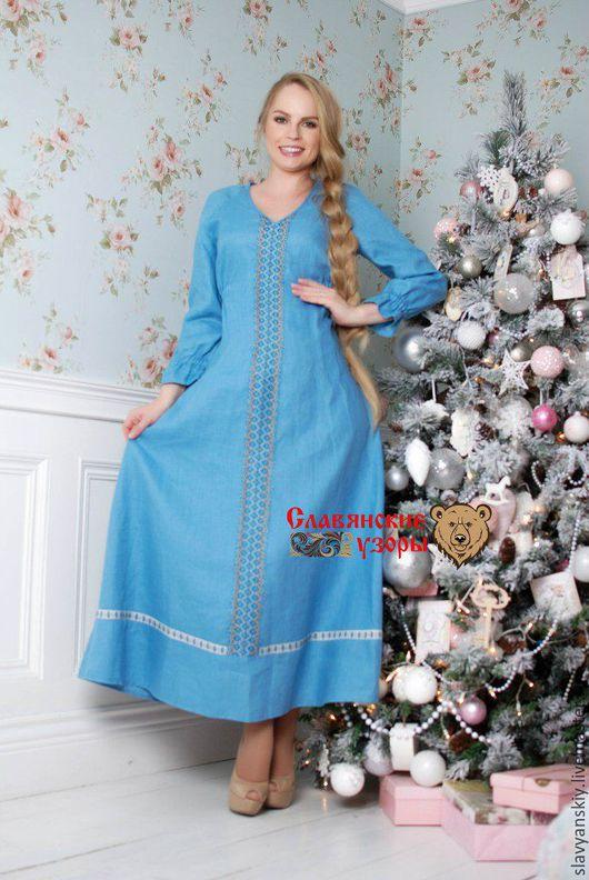 """Платья ручной работы. Ярмарка Мастеров - ручная работа. Купить Платье """"Жива"""" голубое с рукавами. Handmade. Голубой, платье льняное"""