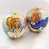 Подарки к праздникам handmade. Livemaster - original item Pair of Christmas balls, jewelry boxes 8 cm.