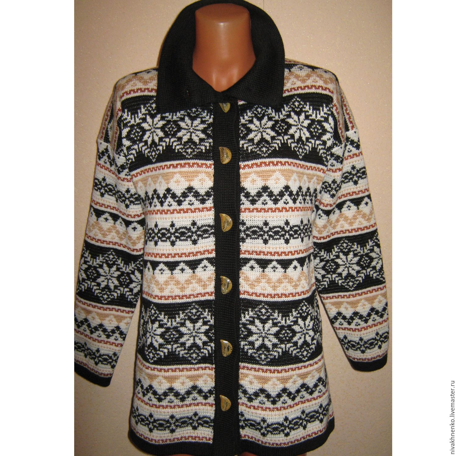 Outer Clothing handmade. Livemaster - handmade. Buy Coat knit with a Norwegian ornament.Beige, knitted coat