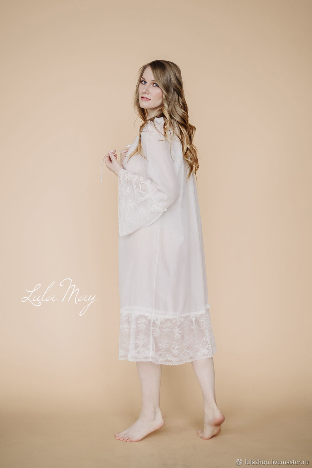 White batiste and lace feerie nightgown shop online on livemaster jpg  1000x1500 White batiste nightgown 7a5678db1
