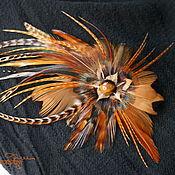 handmade. Livemaster - original item Hairpin-brooch made of natural-colored feathers. Handmade.