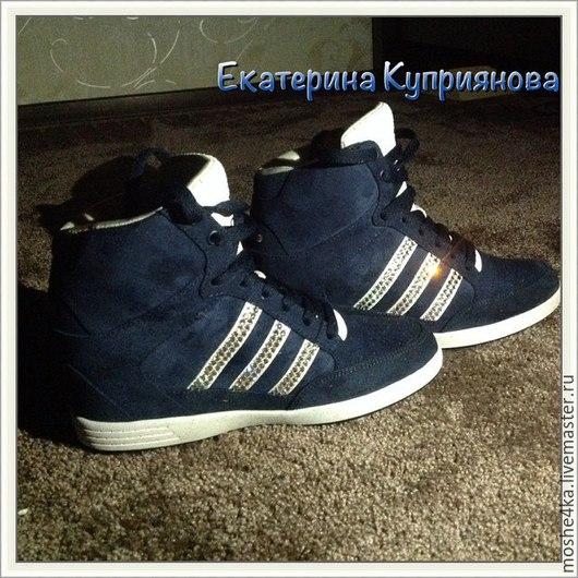 Обувь ручной работы. Ярмарка Мастеров - ручная работа. Купить Кроссовки Adidas с кристаллами Swarovski. Handmade. Синий, обувь, стразы