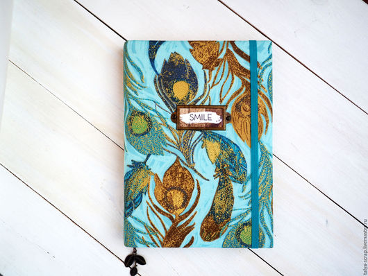 """Блокноты ручной работы. Ярмарка Мастеров - ручная работа. Купить Блокнот  """"Перо птицы счастья"""". Бирюза. Handmade. Голубой, люверсы"""
