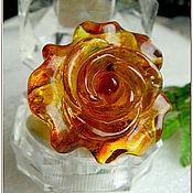 """Украшения ручной работы. Ярмарка Мастеров - ручная работа Кольцо """"Коньячная роза""""  янтарь посеребрение. Handmade."""