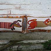 """Для дома и интерьера ручной работы. Ярмарка Мастеров - ручная работа Подушки """" Такса"""" ,"""" Котэ"""". Handmade."""