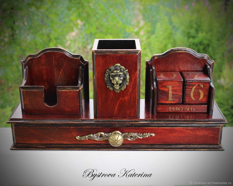 Карандашницы ручной работы. Ярмарка Мастеров - ручная работа. Купить Настольный органайзер для канцелярии. Handmade. Для офиса, для визиток