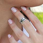 Украшения handmade. Livemaster - original item Phalanx ring with rock carvings in 925 sterling silver RO0016. Handmade.