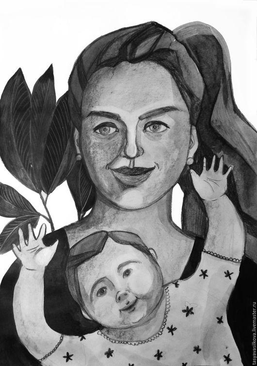 Люди, ручной работы. Ярмарка Мастеров - ручная работа. Купить Портрет Девушки с ребенком. Handmade. Чёрно-белый, картина, портрет