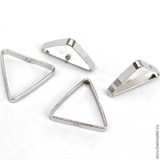 Коннектор треугольный 16 мм, родиевое покрытие,Южная Корея