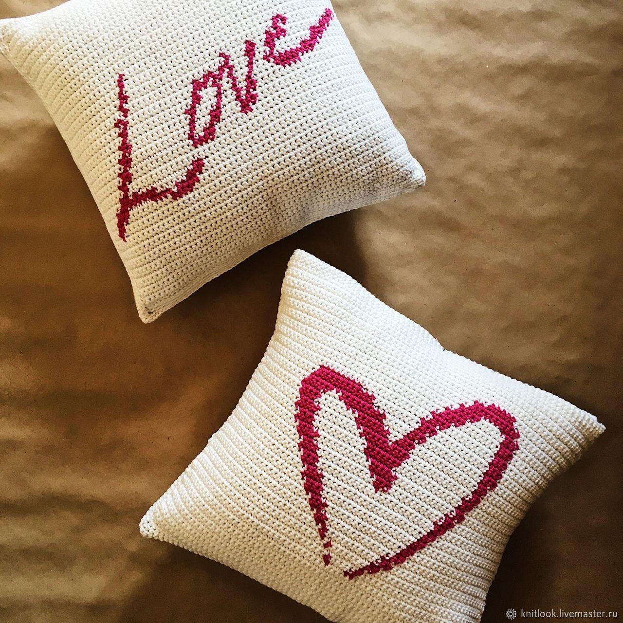 LOVE knitted pillow (1 pc.), Pillow, Kazan,  Фото №1