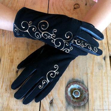 """Accessories handmade. Livemaster - original item Черные перчатки кожаные с росписью """"Золотые кудри"""". Размер 7. Handmade."""