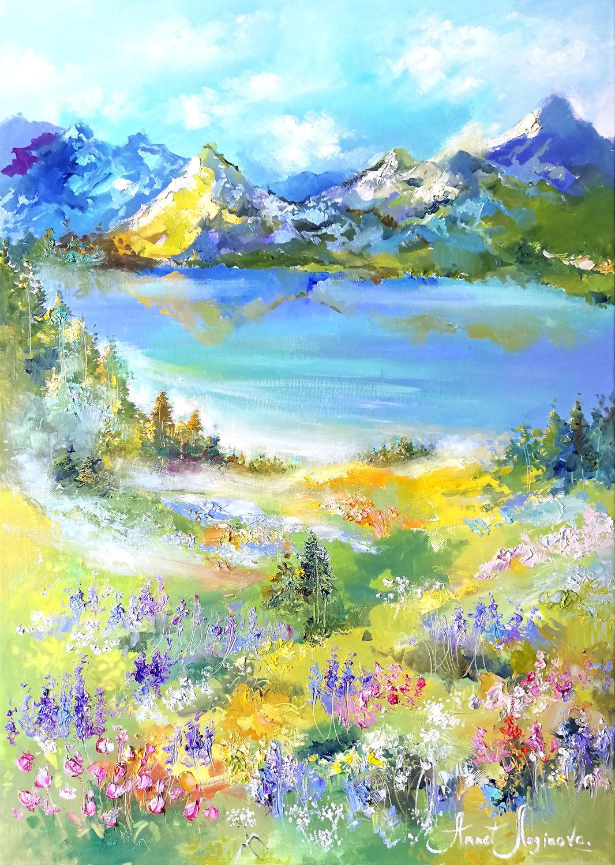 Картины цветов ручной работы. Ярмарка Мастеров - ручная работа. Купить Mountain herb - картина на холсте. Handmade. Лето