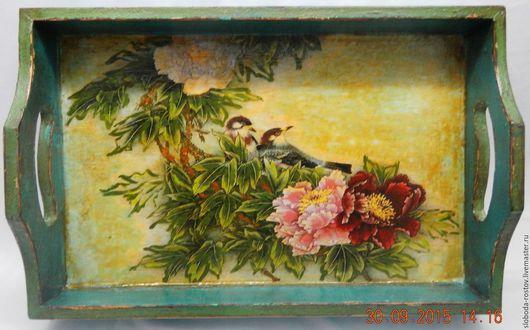 """Корзины, коробы ручной работы. Ярмарка Мастеров - ручная работа. Купить Чайный поднос """"Райские птицы"""". Handmade. Комбинированный, кракелюр"""