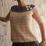 Одежда ручной работы. Ярмарка Мастеров - ручная работа Бежевый топ. Handmade.