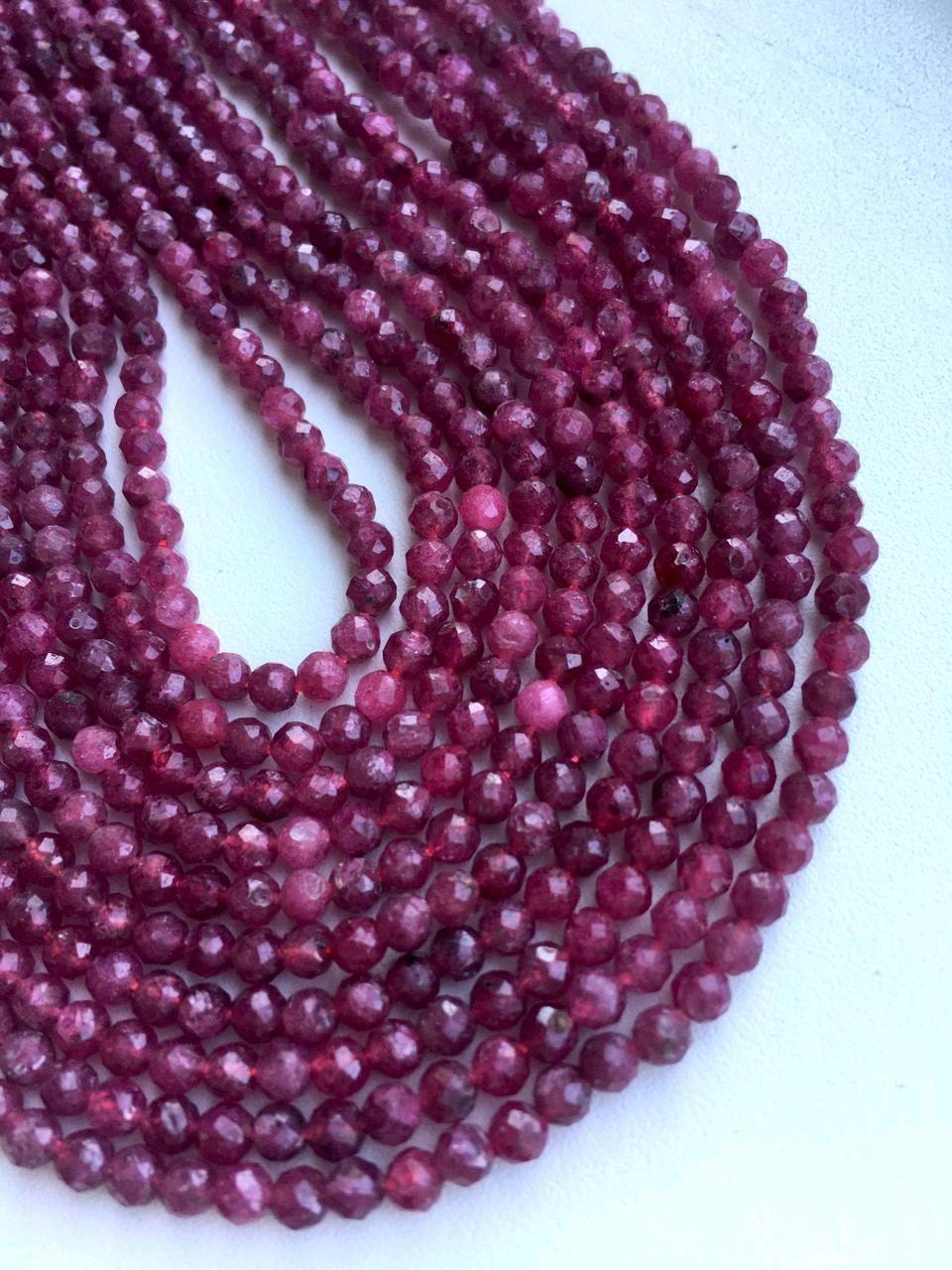 Натуральный рубин бусины 3 мм, Бусины, Краснодар,  Фото №1