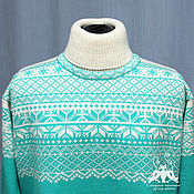 Одежда handmade. Livemaster - original item Men`s knitted sweater with the Norwegian pattern, wool. Handmade.