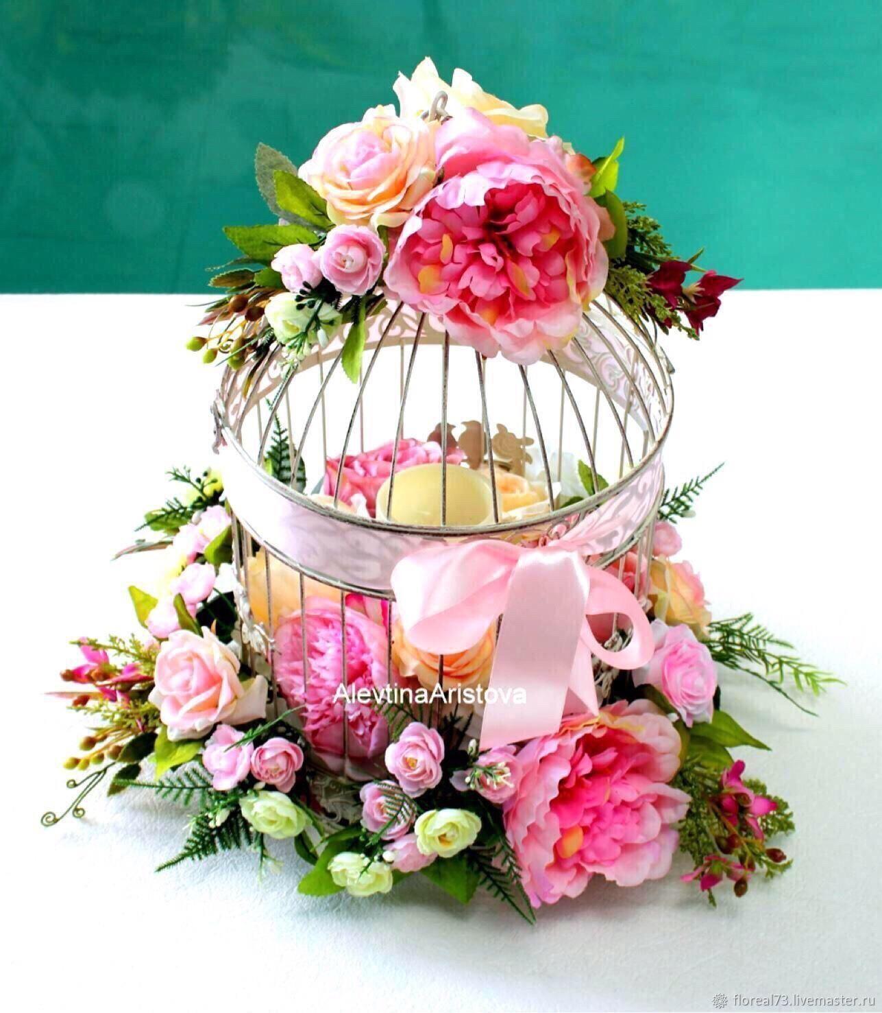 Свадебные цветы ручной работы. Ярмарка Мастеров - ручная работа. Купить Металлическая клеточка с цветами и со светодиодной свечой. Handmade.