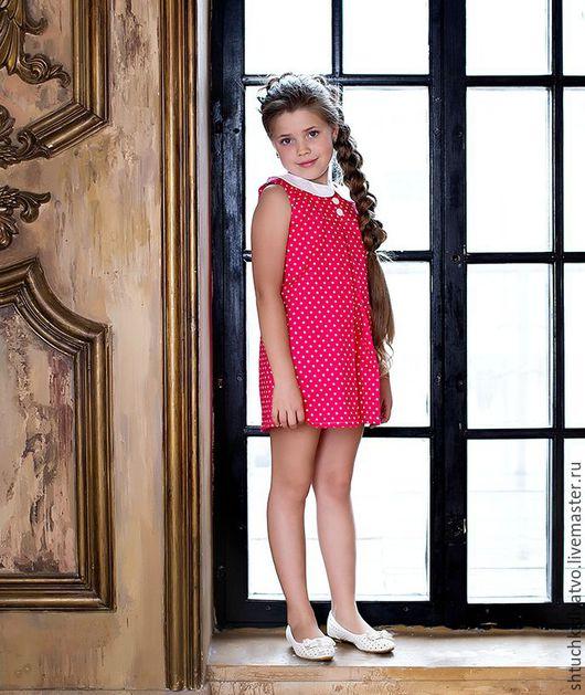 """Одежда для девочек, ручной работы. Ярмарка Мастеров - ручная работа. Купить Сарафан """"Горошки на малиновом"""". Handmade. Фуксия, сарафан, хлопок"""