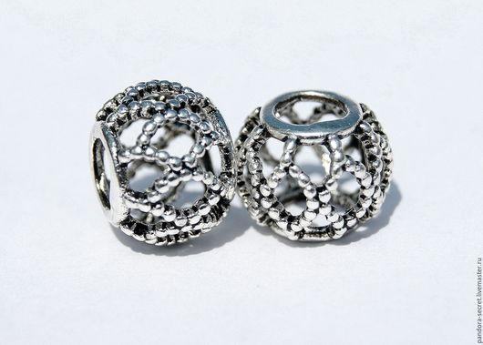 Для украшений ручной работы. Ярмарка Мастеров - ручная работа. Купить Ажурная шарм бусина для браслета серебро 925 пробы. Handmade.