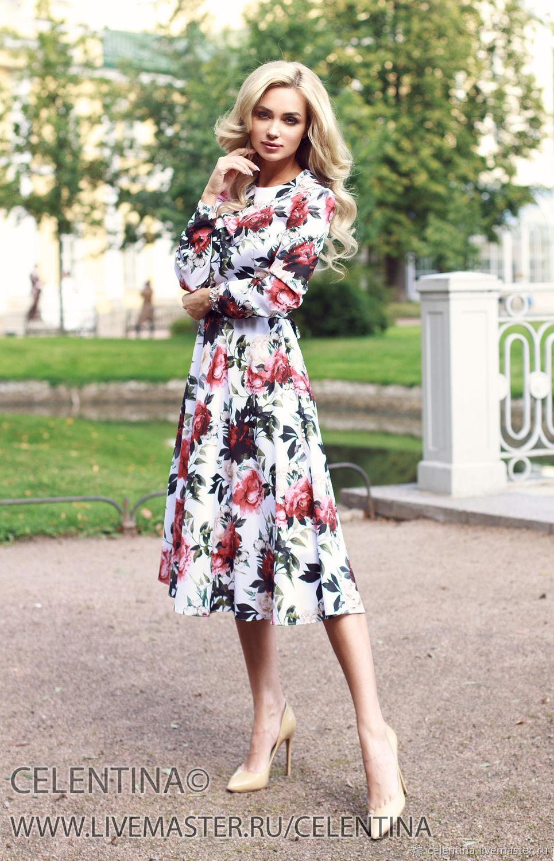 f0247904023 Белое Летнее платье. Белое Платье миди с длинным рукавом – купить в ...