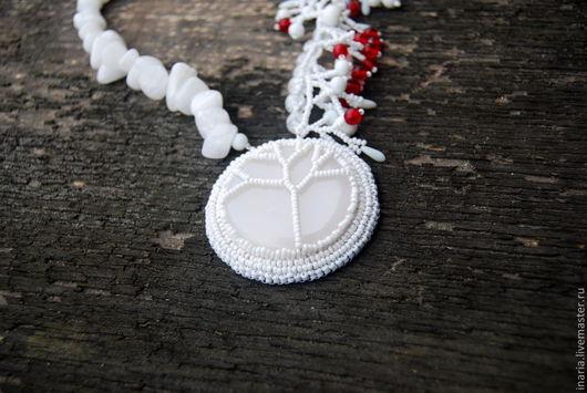 """Колье, бусы ручной работы. Ярмарка Мастеров - ручная работа. Купить Колье """"Белое дерево"""". Handmade. Белый, кварц"""