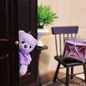 """Куклы и игрушки ручной работы. Ярмарка Мастеров - ручная работа Миниатюрный мишка """"Сьюзи"""" (сиреневый). Handmade."""
