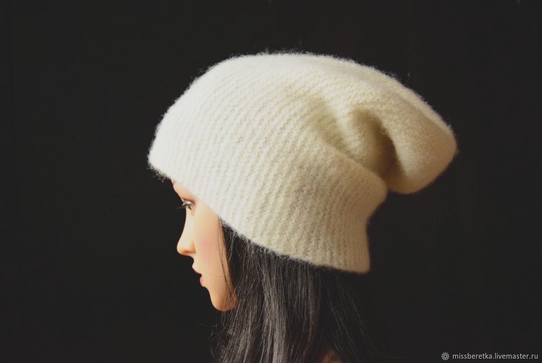 Вязано-валяная шапка бини, женская, белая, эко шерсть, Шапки, Челябинск,  Фото №1