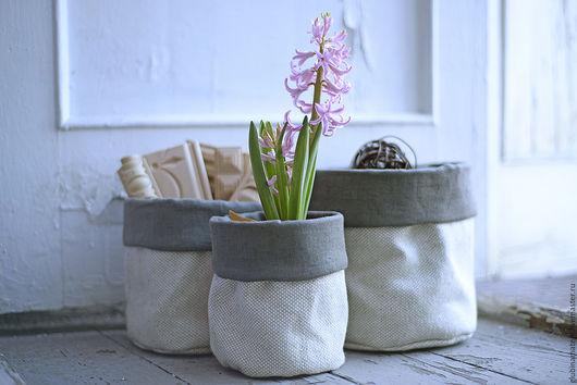 Корзины, коробы ручной работы. Ярмарка Мастеров - ручная работа. Купить Текстильные корзинки для хранения, набор из 3-х штук. Handmade.