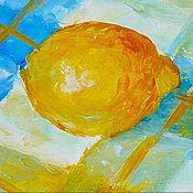"""Картины и панно ручной работы. Ярмарка Мастеров - ручная работа Картина """"Лимон"""" бесплатная доставка, холст, масло, оргалит. Handmade."""