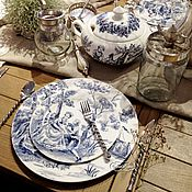 Посуда handmade. Livemaster - original item Painted porcelain Plates from the service of the toile de Jouy. Handmade.