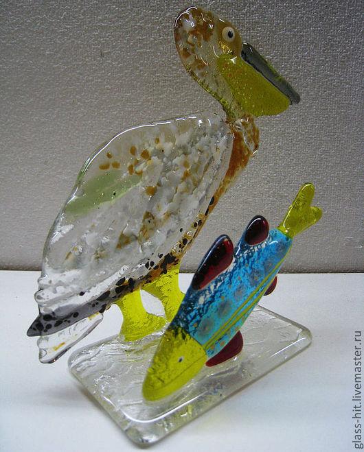 """Салфетница """"Пеликан и рыбка"""". Стекло. Фьюзинг."""