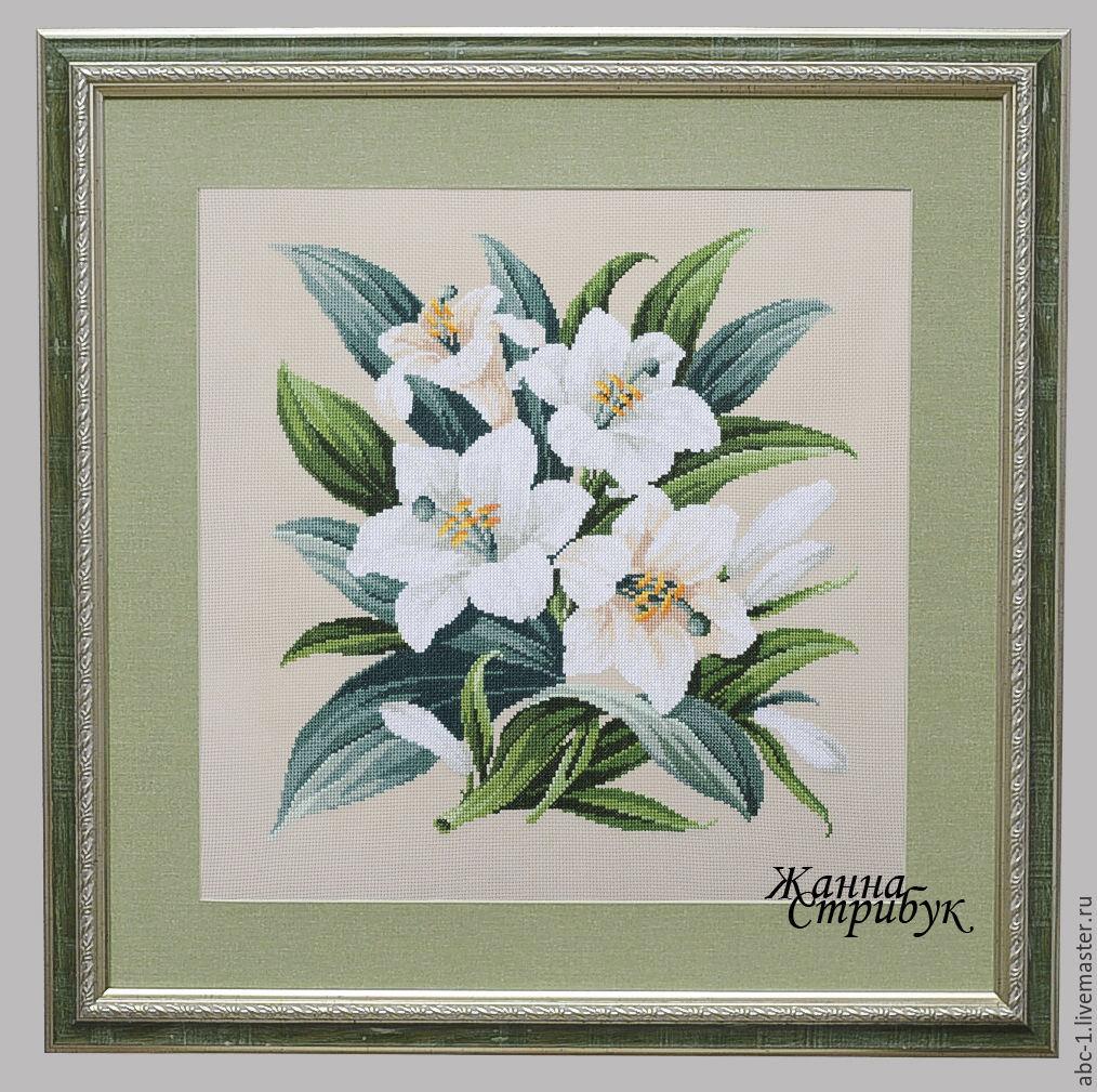Схема вышивки с белыми лилиями