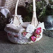 Для дома и интерьера ручной работы. Ярмарка Мастеров - ручная работа Плетеная корзинка декорированная ,,Розовый сон,,. Handmade.