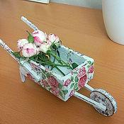 Куклы и игрушки ручной работы. Ярмарка Мастеров - ручная работа цветочная тележка, миниатюра. Handmade.