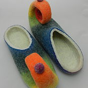 """Обувь ручной работы. Ярмарка Мастеров - ручная работа Тапки валяные домашние """"По радуге босиком"""". Handmade."""