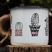 """Винтажные кружки ручной работы. Ярмарка Мастеров - ручная работа Эмалированная кружка TRAP """"Кактусы"""". Handmade."""