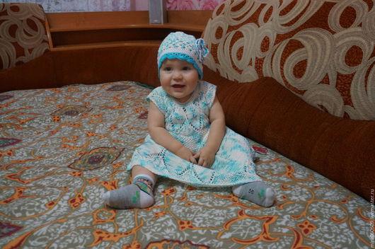 Одежда для девочек, ручной работы. Ярмарка Мастеров - ручная работа. Купить Платье и шапочка для девочки летние. Handmade. Вязание спицами