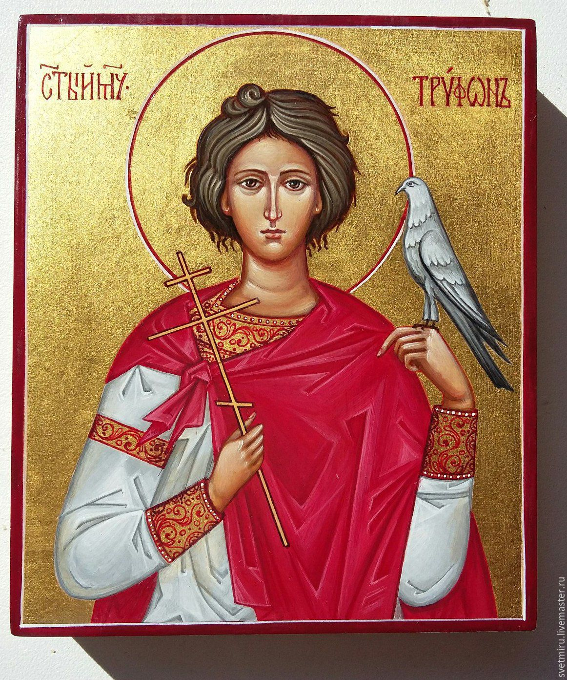 The Holy Martyr Tryphon.Photo taken in sunlight,making clear the game gold in the light. In the next photo icon in daylight and paint the icon closer to the original.