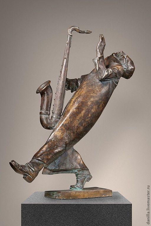 Персональные подарки ручной работы. Ярмарка Мастеров - ручная работа. Купить Интерьерная статуэтка Саксофонист.. Handmade. Интерьерная скульптура, Саксофонист