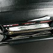 Сумки и аксессуары handmade. Livemaster - original item Purse clutch black with gray genuine leather Large Purse. Handmade.