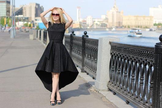 Платья ручной работы. Ярмарка Мастеров - ручная работа. Купить Праздничное черное платье со шлейфом. Handmade. Черный