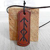 Украшения handmade. Livemaster - original item Runes Personalized Leather Pendant.. Handmade.