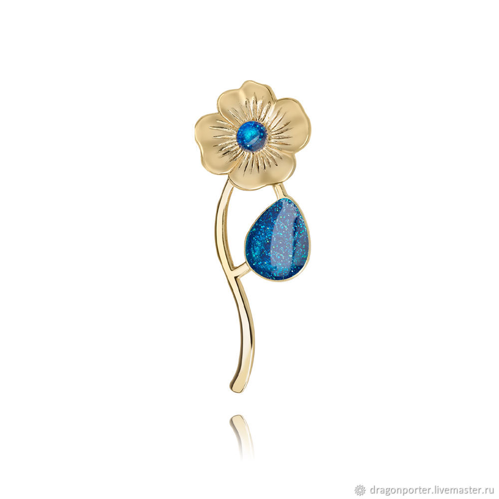Brooch blue shiny gift for the holiday ' Delicate flower', Brooches, Moscow,  Фото №1