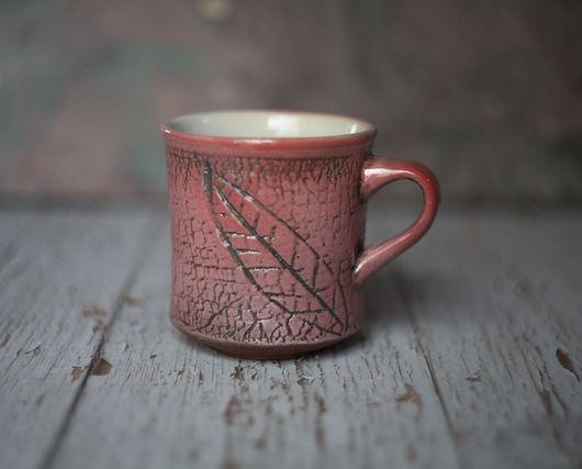 Кружки и чашки ручной работы. Ярмарка Мастеров - ручная работа. Купить Красная чашка с листочком. Handmade. Японский стиль, раку