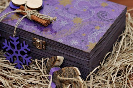 """Шкатулки ручной работы. Ярмарка Мастеров - ручная работа. Купить Шкатулка """"Фиолетовая вьюга"""". Handmade. Фиолетовый, шкатулка для чая, Декупаж"""